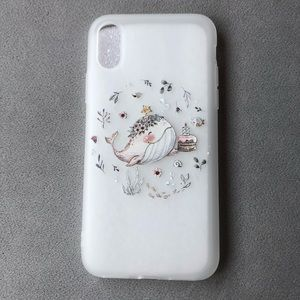 iPhone XS Frosted Silicone Whale Floral Case